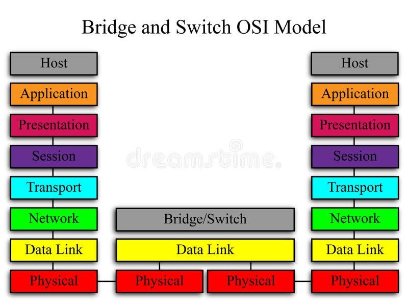 Modelo de red del puente y del interruptor OSI stock de ilustración