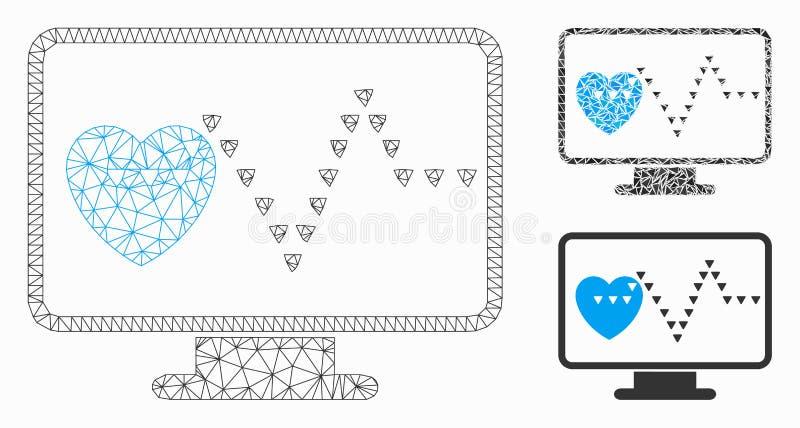Modelo de rede de malha do vetor de monitoramento de vídeo e ícone de mosaico de triângulo ilustração do vetor