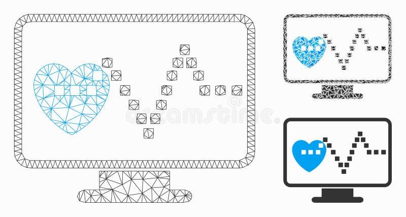 Modelo de rede de malha do vetor de monitoramento de vídeo e ícone de mosaico de triângulo ilustração stock
