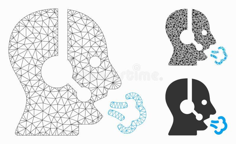 Modelo de Rede de Malha do Vetor de Voz do Operador e Ícone de Mosaico de Triângulo ilustração stock