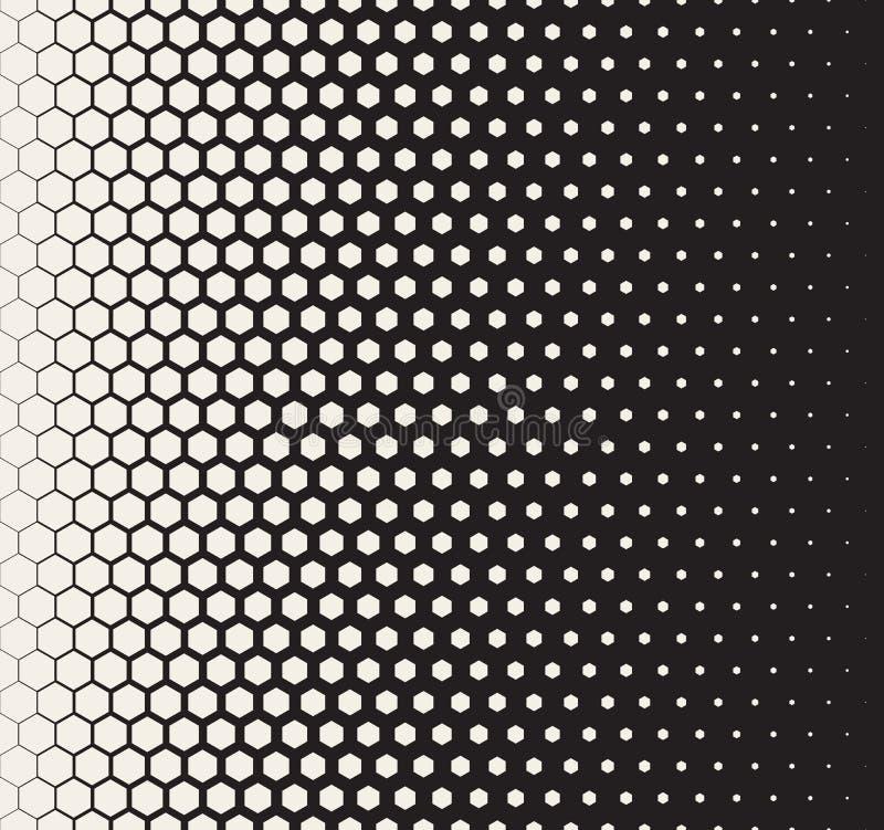 Modelo de rejilla hexagonal de semitono de la transición blanco y negro inconsútil del vector stock de ilustración