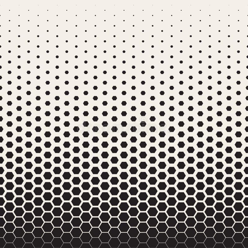 Modelo de rejilla hexagonal de semitono de la transición blanco y negro inconsútil del vector ilustración del vector