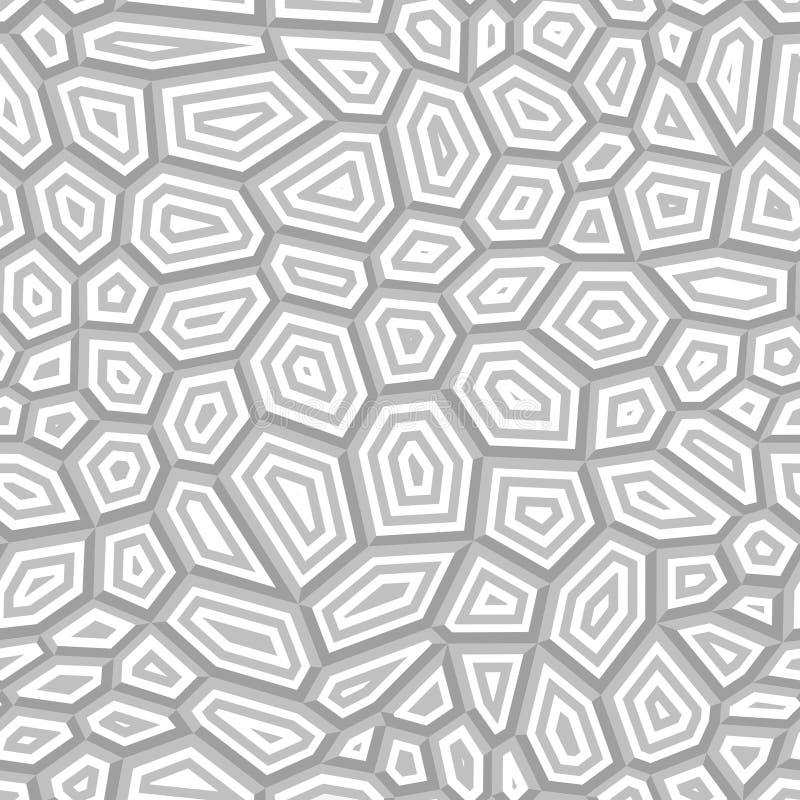 Modelo de rejilla inconsútil del vector Gray Shapes concéntrico en blanco libre illustration