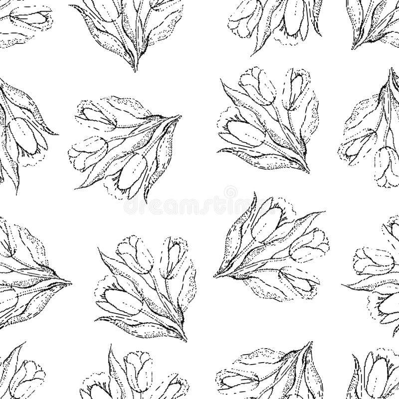 Modelo de repetición inconsútil de tulipanes halftone Vector ilustración del vector