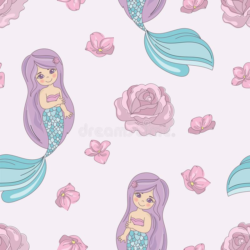 Modelo de ROSE Decorative Vector Illustration Seamless de la SIRENA para la impresión ilustración del vector