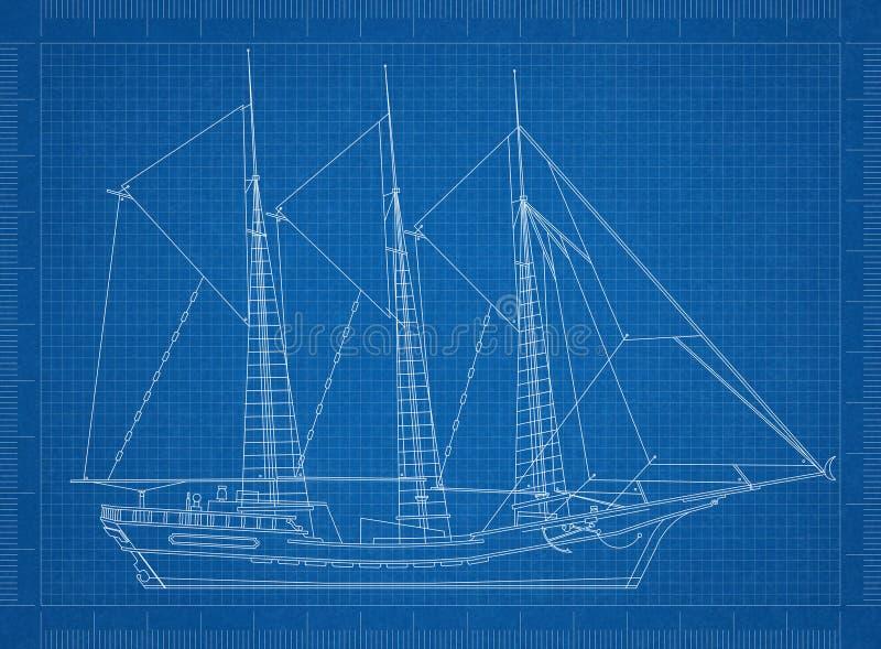 Modelo de selagem do navio ilustração royalty free