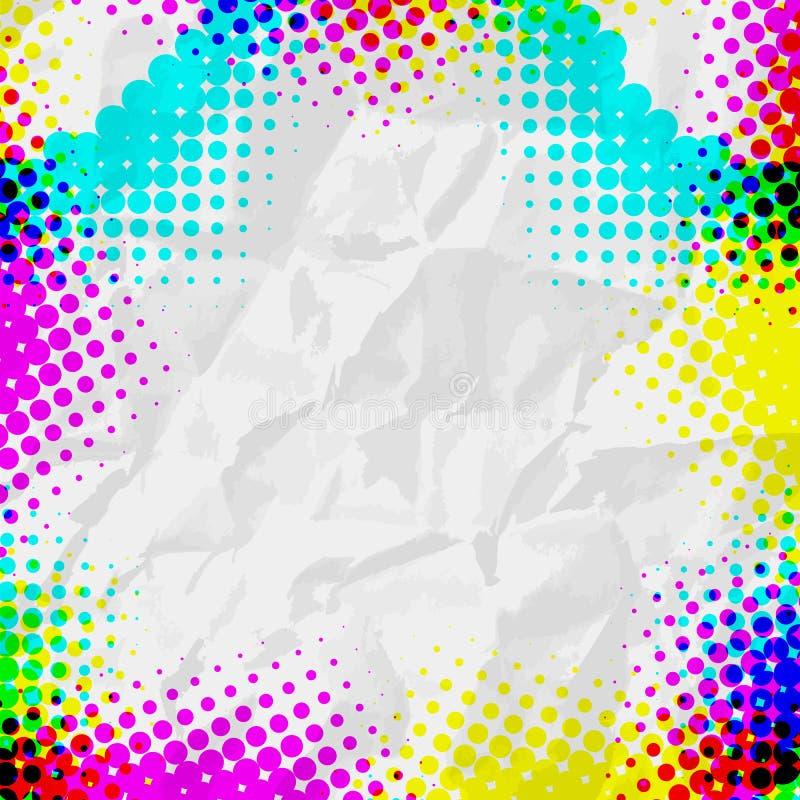 Modelo de semitono colorido del grunge abstracto stock de ilustración