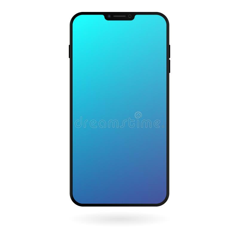 Modelo de Smartphone com a tela azul do inclinação no fundo branco Molde digital do dispositivo da cor preta ilustração stock