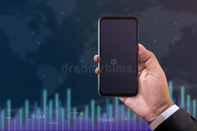 Modelo de Smartphone para o conceito do investimento e da análise Negócios fotografia de stock