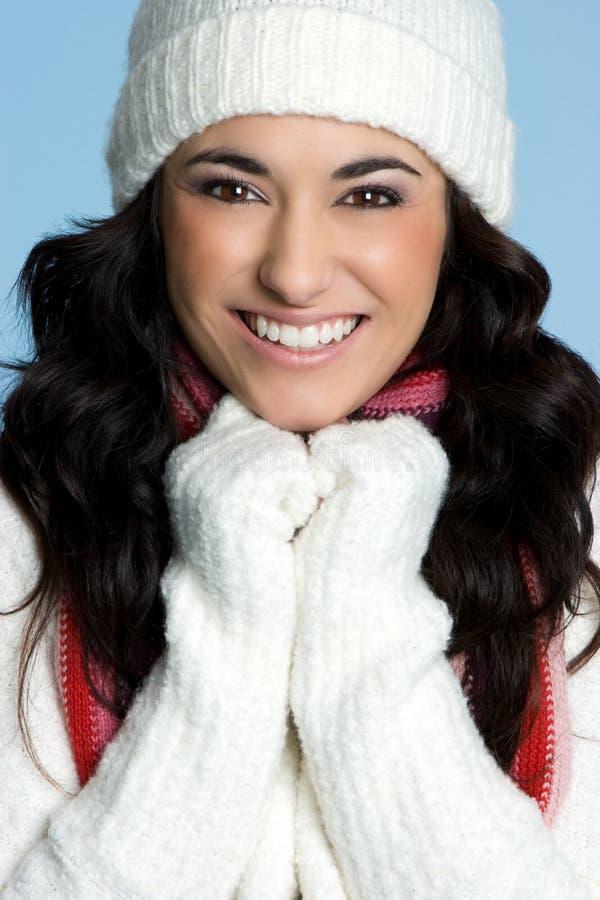 Modelo de sorriso do inverno fotografia de stock royalty free