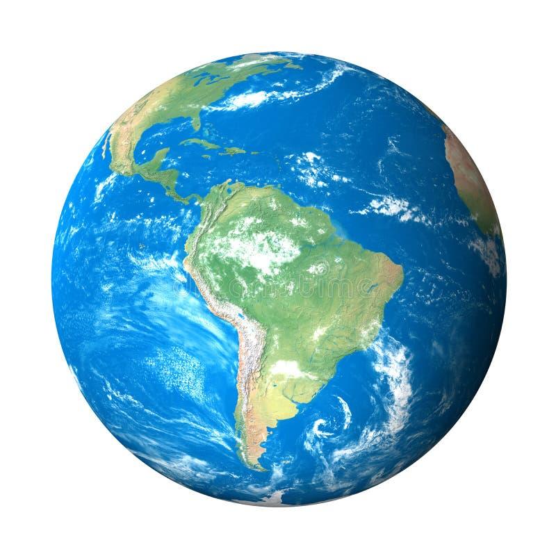 Modelo de terra do espaço: Opinião de Ámérica do Sul ilustração royalty free