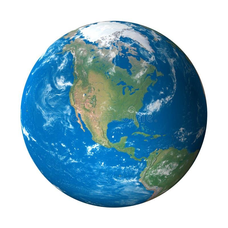 Modelo de terra do espaço: Opinião de America do Norte ilustração royalty free