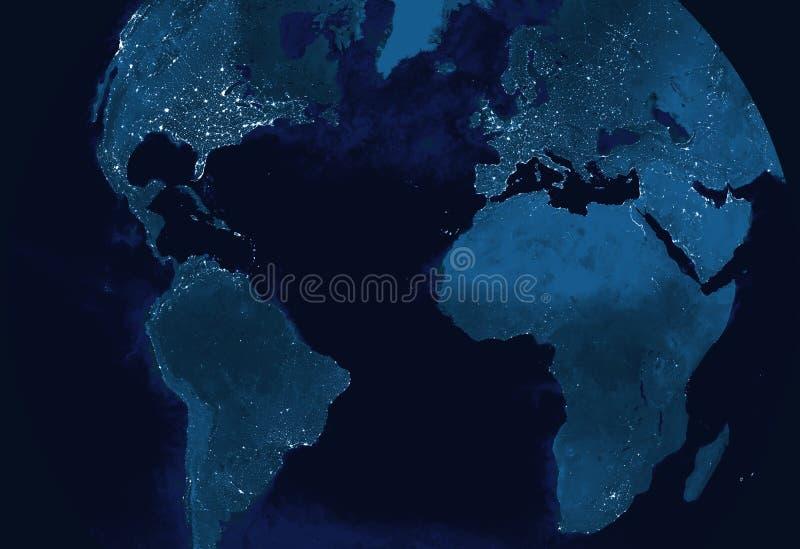 Modelo de terra do globo na noite ilustração stock