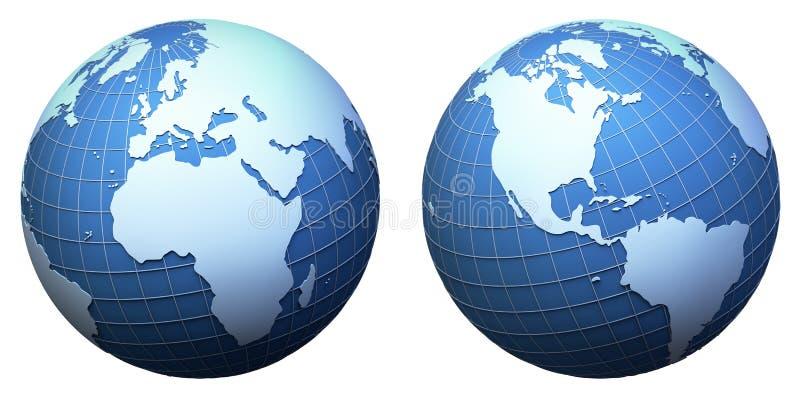 Modelo de terra do planeta isolado no branco ilustração royalty free