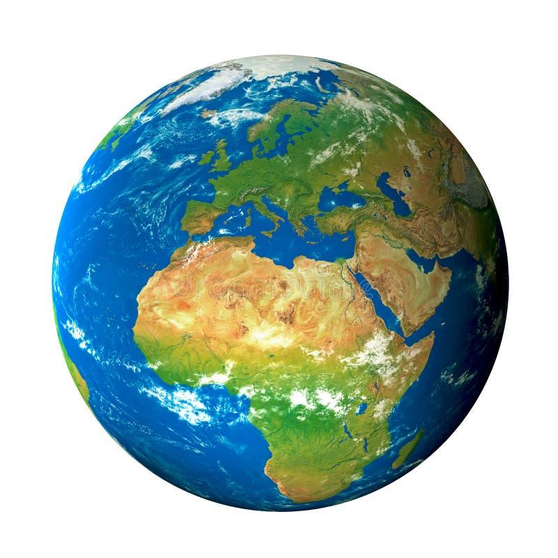 Modelo de tierra del espacio: Opinión de Europa ilustración del vector