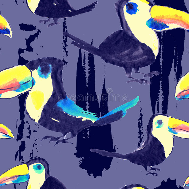 Modelo de Toucan Papel pintado inconsútil tropical del pájaro ilustración del vector