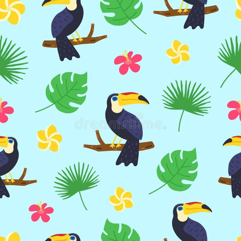 Modelo de Toucan Textura tropical exótica para la impresión, banderas, plantilla del cartel Aloha modelo incons?til hawaiano Gara stock de ilustración