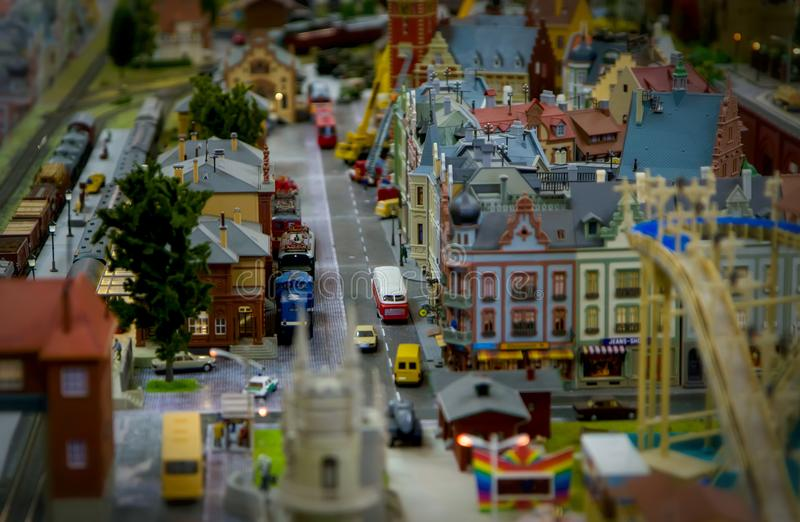 Modelo de uma cidade do brinquedo imagens de stock royalty free