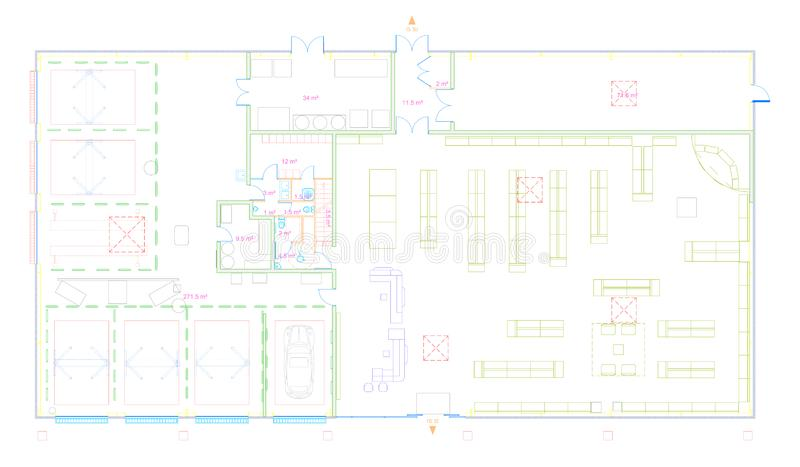 Modelo de un edificio comercial hecho en el cad imágenes de archivo libres de regalías