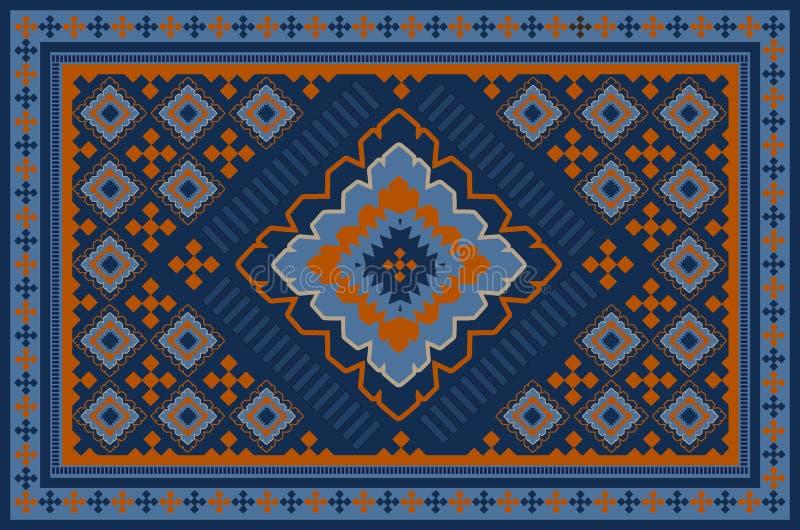 Modelo de una alfombra oriental vieja de lujo con los modelos de la naranja, azul marino y beige en fondo azul libre illustration