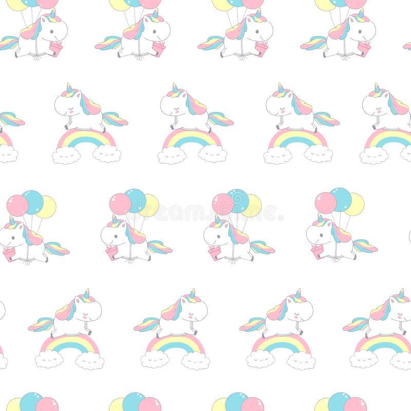 Modelo de Unicorn Over Rainbow Fashion Seamless para el garabato de la materia textil Feliz poca Pony Fly en el globo D?a de fies stock de ilustración