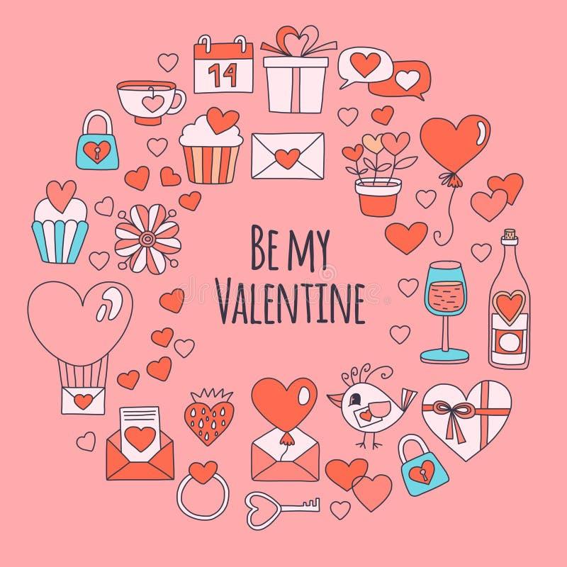 Modelo de Valentine Day Vector con los iconos del corazón, torta, globo en fondo rosado libre illustration