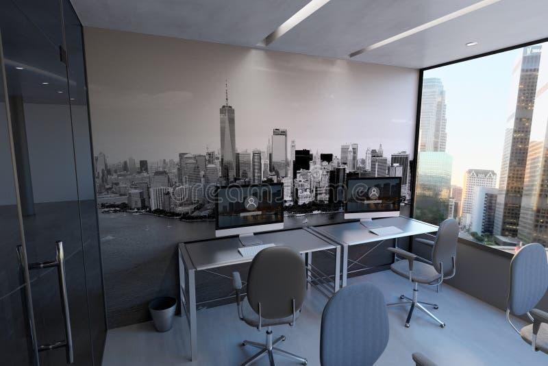 Modelo de vidro da parede da sala do escritório - rendição 3d ilustração stock