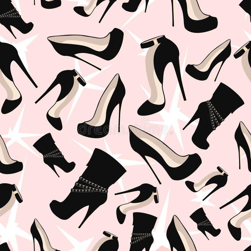 Modelo de zapatos negros con brillo en un fondo rosado stock de ilustración