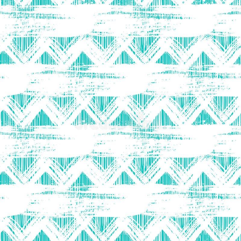 Modelo de zigzag étnico inconsútil con pinceladas stock de ilustración