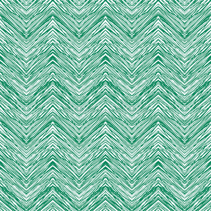 Modelo de zigzag dibujado mano del vector del verde esmeralda ilustración del vector
