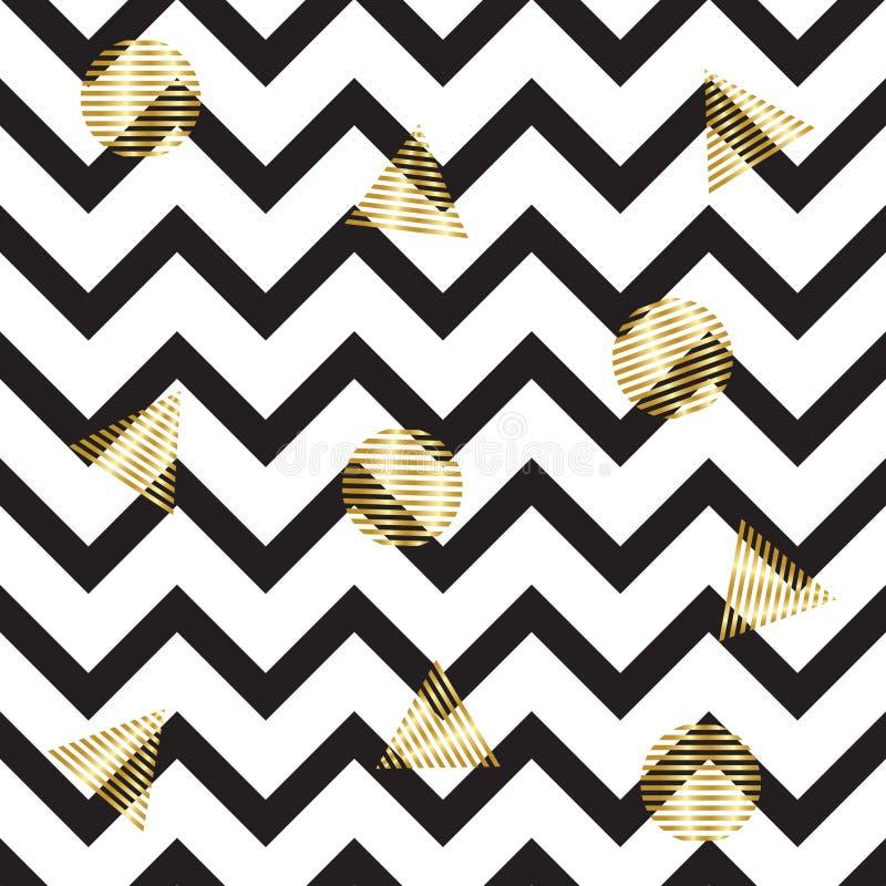 Modelo de zigzag inconsútil con los círculos y los triángulos del oro Fondo inconsútil con las rayas negras horizontales en zigza ilustración del vector
