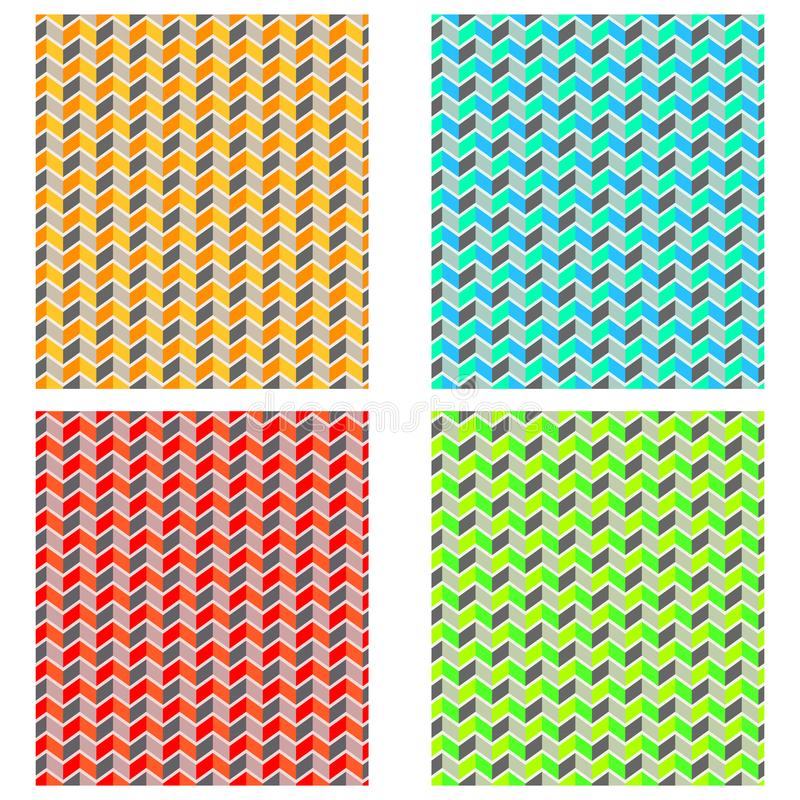 Modelo de zigzag simple, plano, inconsútil Cuatro variaciones del color libre illustration