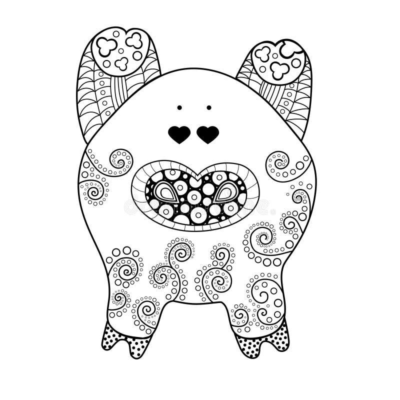 Modelo decorativo del cerdo Símbolo de 2019 ilustración del vector