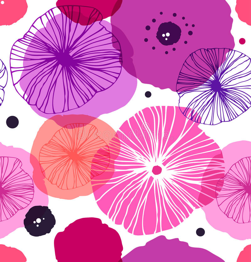 Modelo decorativo inconsútil con las amapolas Amapola elegante del vector Fondo floral de Rose libre illustration