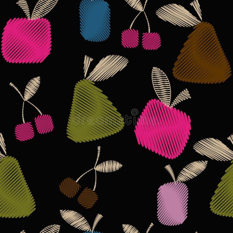 Modelo decorativo inconsútil con las frutas, la primavera brillante o el verano ilustración del vector