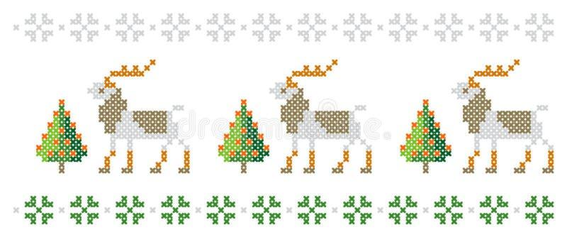 Modelo del Año Nuevo Árboles de navidad, ciervos y copos de nieve Feliz Navidad, ejemplo de la Feliz Año Nuevo stock de ilustración