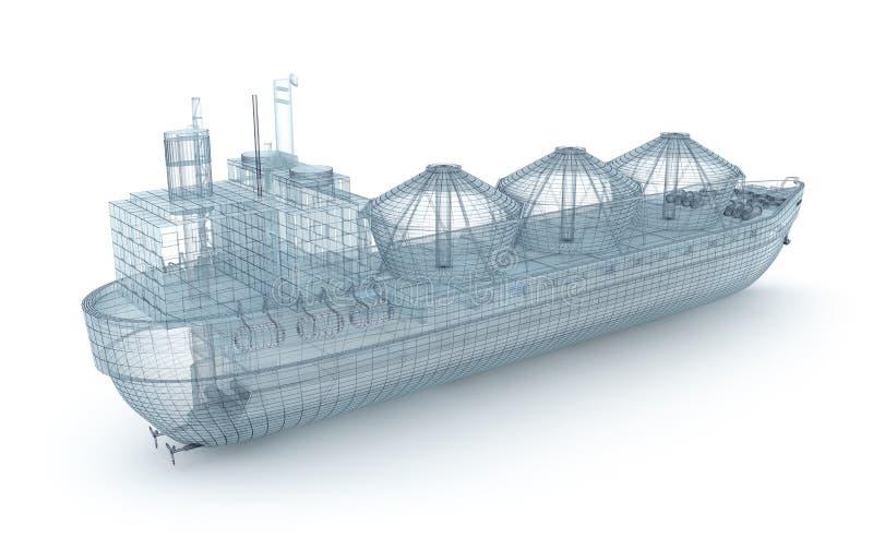 Modelo del alambre de la nave del buque de petróleo aislado en blanco ilustración del vector