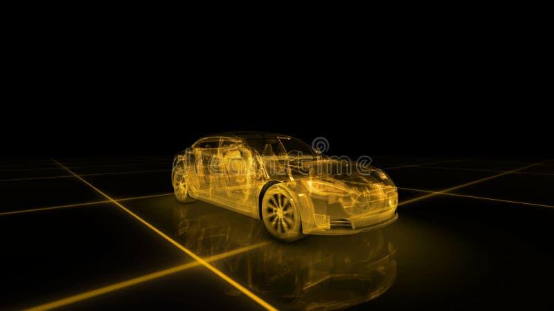 Modelo del alambre del coche deportivo con el fondo de neón amarillo del negro del ob ilustración del vector