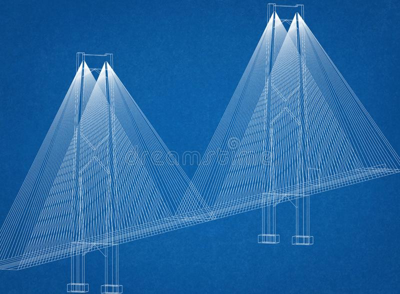 Modelo del arquitecto del puente ilustración del vector