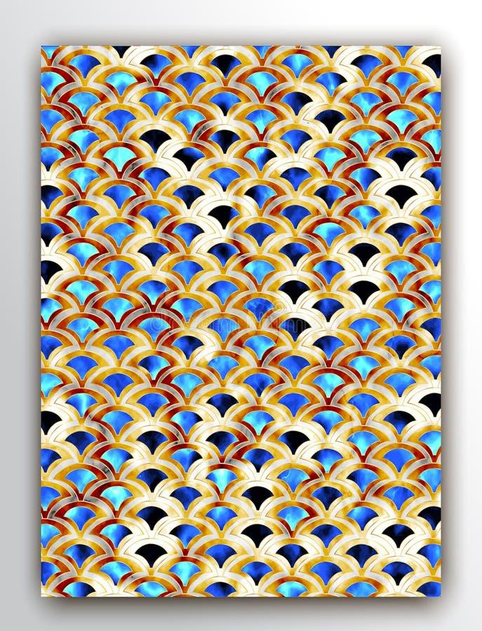 Modelo del art déco Escalas de la sirena del oro Textura geométrica del brillo stock de ilustración