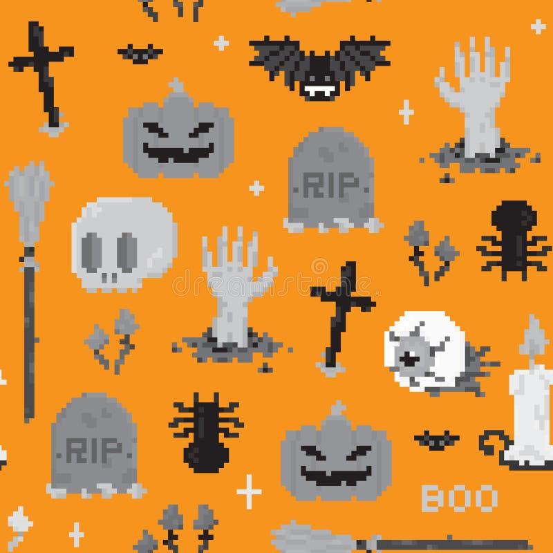 Modelo del arte del pixel de Halloween stock de ilustración