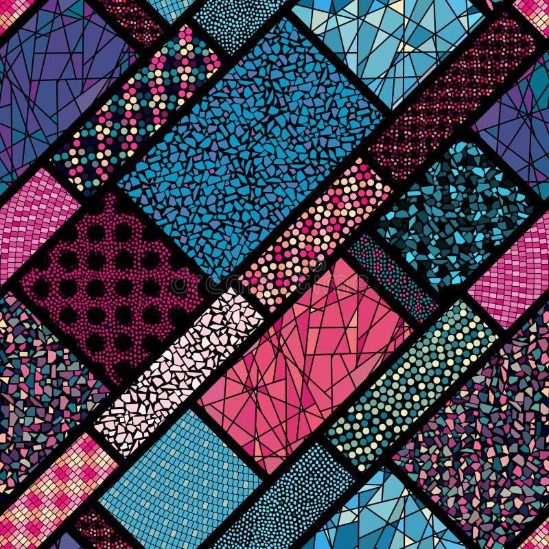 Modelo del arte del mosaico de formas onduladas Imagen incons?til del vector stock de ilustración
