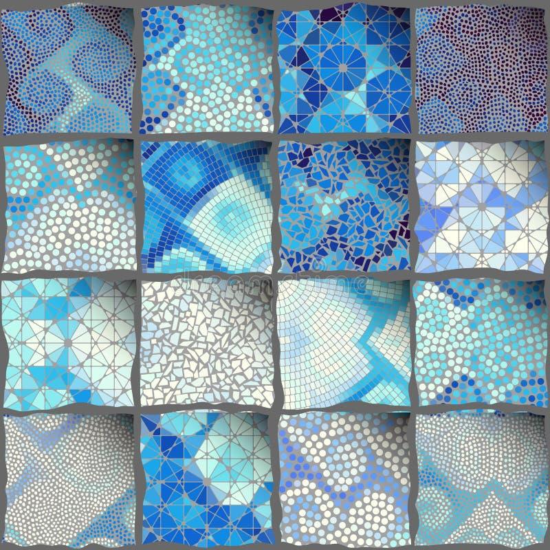 Modelo del arte del mosaico de rectángulos de diversas texturas de la teja libre illustration