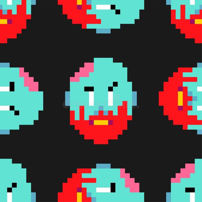 Modelo del arte del pixel del zombi inconsútil los zombis dirigen y el backgr del cerebro ilustración del vector