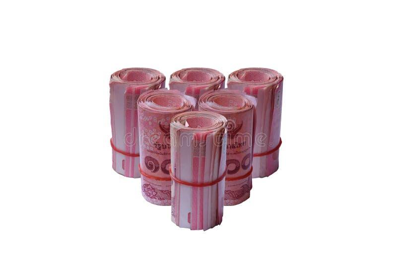 Modelo del billete de banco de Tailandia del rollo en fondo aislado imagen de archivo libre de regalías