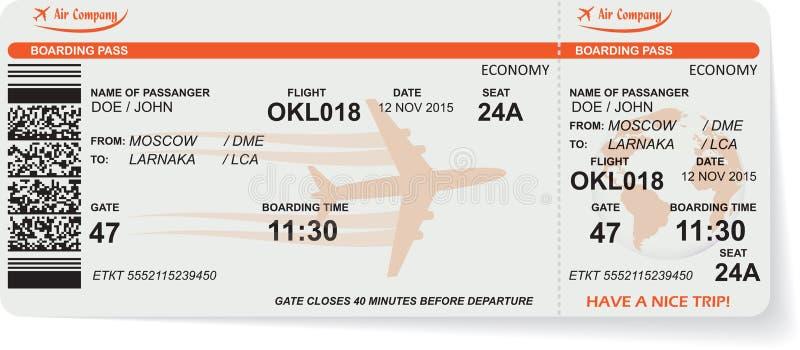 Modelo del boleto del documento de embarque de la línea aérea stock de ilustración
