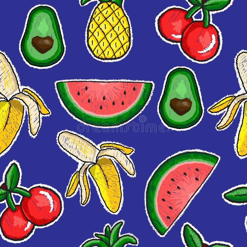 Modelo del bordado de las frutas ilustración del vector