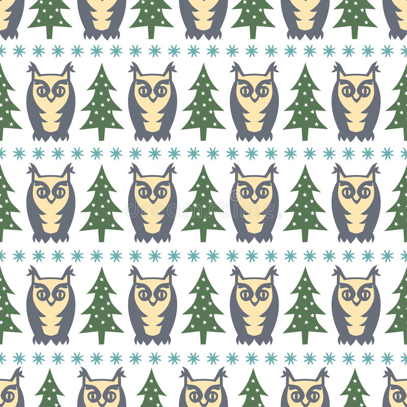 Modelo del bosque del invierno - árboles, búhos y copos de nieve de Navidad Fondo inconsútil simple de la naturaleza stock de ilustración