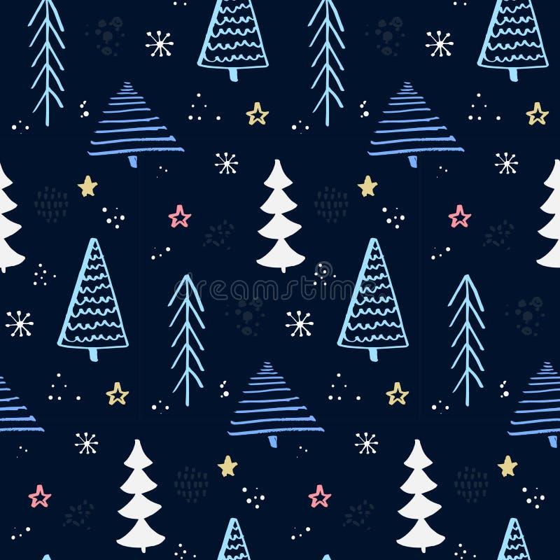 Modelo del bosque del invierno con el árbol de navidad dibujado mano Cielo nocturno azul con las estrellas y los copos de nieve F ilustración del vector