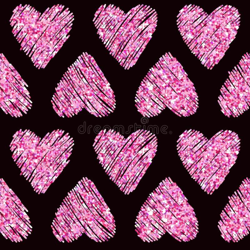 Modelo del brillo del corazón del día de tarjeta del día de San Valentín ilustración del vector